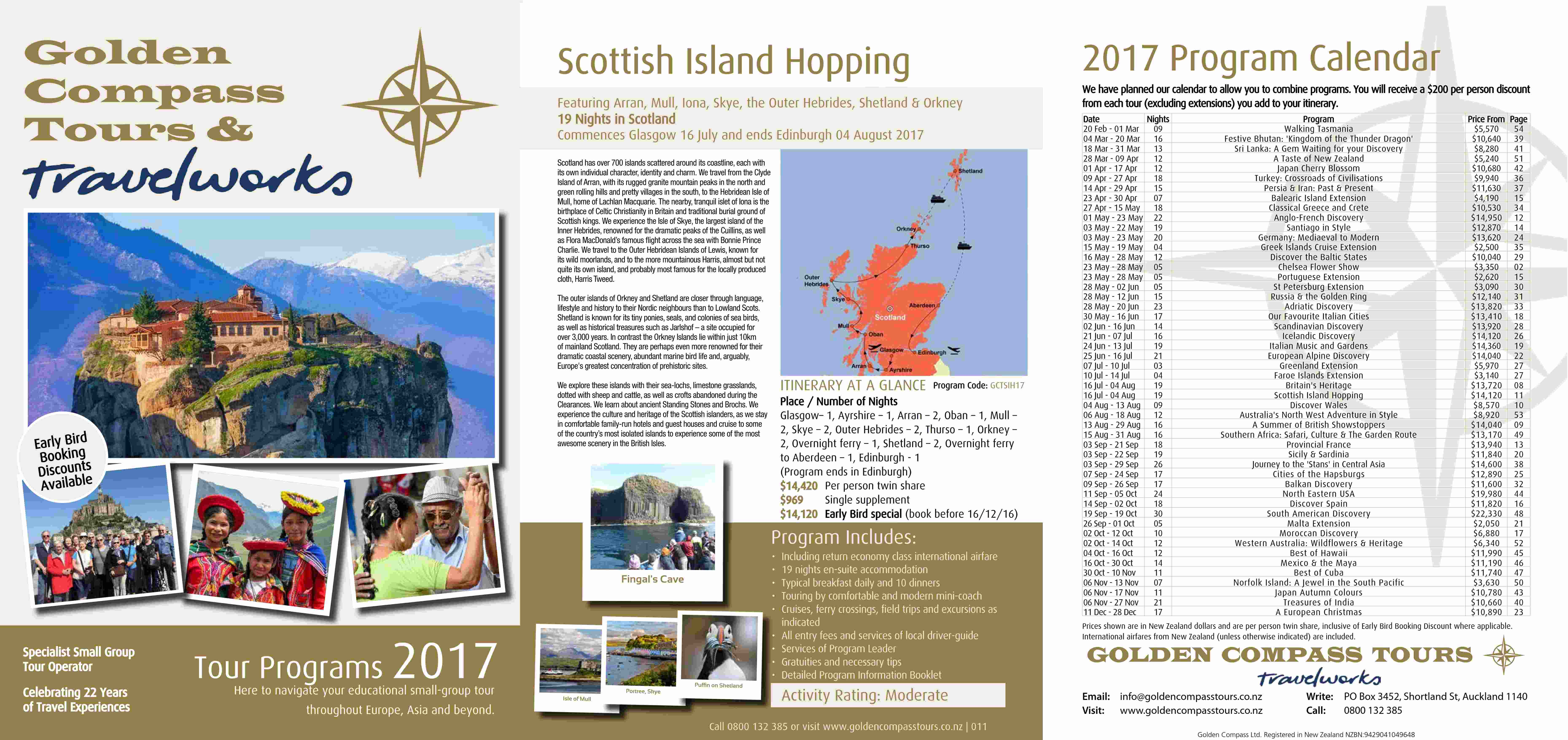 Click Here to view our 2017 Tour Brochure