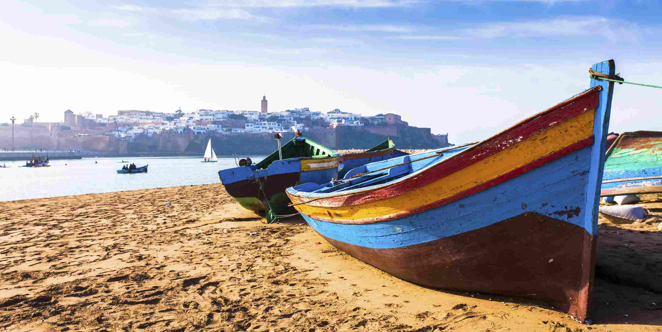 Traditional Boats along the Beach in Rabat
